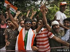 Trinamul Congress supporters celebrating poll victory in Calcutta