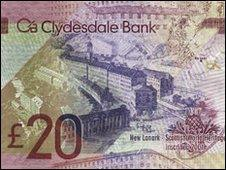 Clydesdale Bank £20 note with image of New Lanark