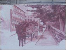 Mural image of horse and cart