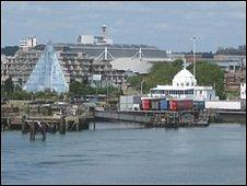 The end of the Royal Pier and its entrance building