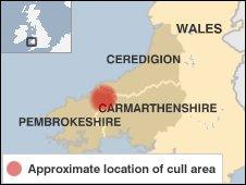 Map of cull areas