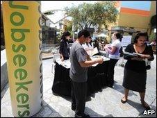 Job seekers at the annual Orange County Job Fair in California