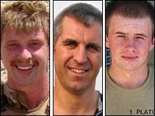 Lance Bombardier Matthew Hatton, Captain Mark Hale and Rifleman Daniel Wild