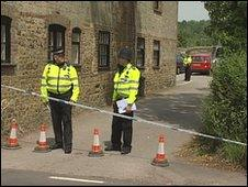 Police officers at the scene of the incident in Rogate, Chichester