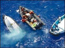 Capsized dinghy