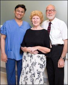 Jayany Vaidya, patient Josephine Ford and Prof Jeffrey Tobias