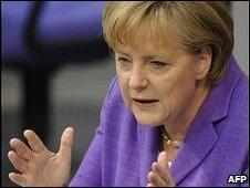 Angela Merkel at parliament in Berlin, 19 May