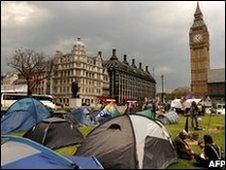 Democracy Village in Parliament Square