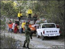 Police and rescue workers outside mine