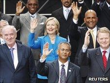Hillatry Clinton and fellow OAS foreign ministers