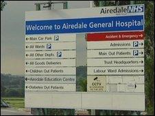 Airedale General Hospital sign