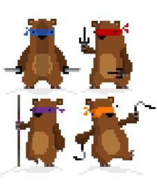Simon Cottee's pixellated ninja bears
