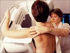 Woman having mammogram