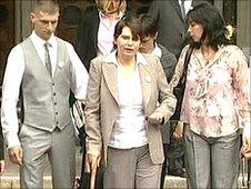 Sara Payne with family and friends outside court