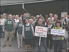 Protest outside the meeting at at Hamworthy Club, Canford Magna, on Wednesday