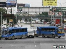 Stolen buses used as a roadblock in Monterrey on 9/6/2010