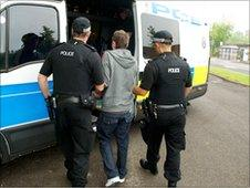 One of the men is arrested