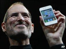 Steve Jobs with the new iPhone 4 in San Francisco, US, 7 June 2010