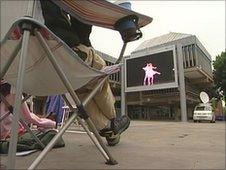 People watching the Big Screen in Derby