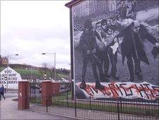 Mural in Derry commemorating Bloody Sunday
