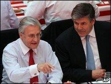 ECB chairman Jean-Claude Trichet and Deutsche Bank head Josef Ackermann