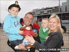 Chief Petty Officer Dennis Nolan, 37, being met by his wife Teresa and sons Will, five, and Zac, two after HMS York returned to Portsmouth on Friday