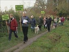 Protest against the plans to build 2,000 homes at Barton Farm