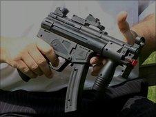 Toy gun with laser sight