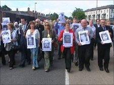 Bloody Sunday families marching to the Guildhall