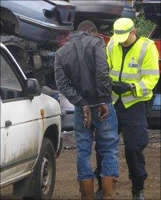 Arrest at scrap metal yard