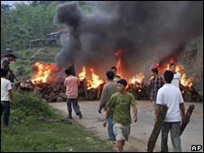A road block by Naga group in Manipur