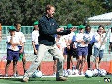 Prince William in goal at a charity project in Botswana