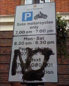 Vandalised sign