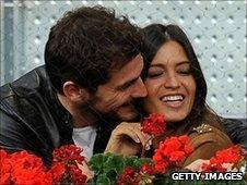 Spanish goalkeeper Iker Casillas (r) Sara Carbonero (r)