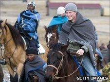 Prince Harry on a horse in Lesotho