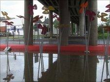 """Flooding at the """"Phoenix Flowers"""" lighting project at Cowcaddens"""