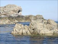 Rocks and sea near Sark