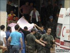 Wounded Turkish soldiers are taken to a hospital in Semdinli (19 June 2010)