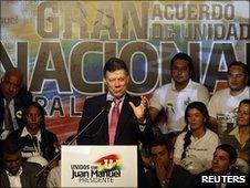 Juan Manuel Santos at a campaign rally in Bogota, 18 June 2010