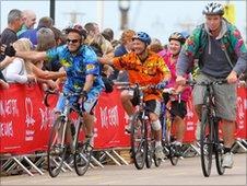 Riders cross the finishing line