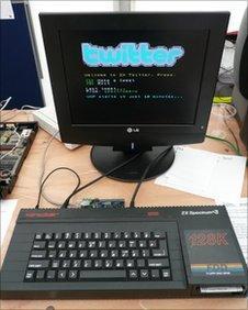 ZX Spectrum running Twitter, photo by Pixelh8