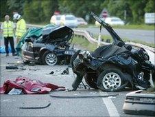 Aftermath of a road crash