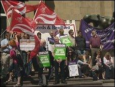 Protesters in Leeds
