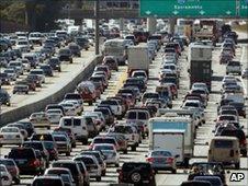A traffic jam in California