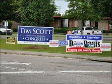 Campaign signs in South Carolina