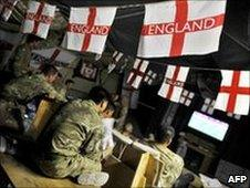 UK troops watch World Cup
