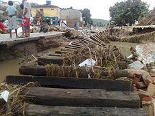 Floood-damaged railway tracks in north-east Brazil