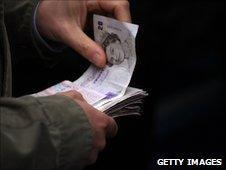 Bundle of £20 notes