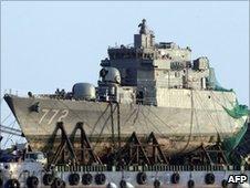 Salvaged bow of South Korean warship Cheonan (file photo)