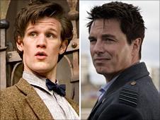 Matt Smith as the Doctor (left) and John Barrowman as Captain Jack Harkness (right)